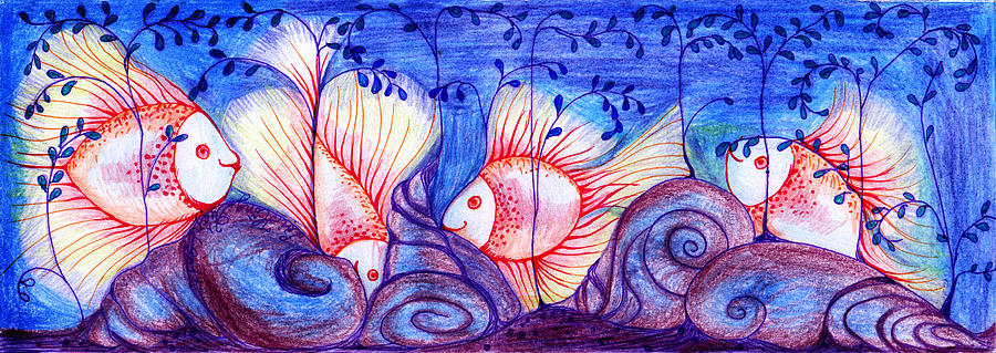 Fish Drawing - Fishes by Hong Diep Loi