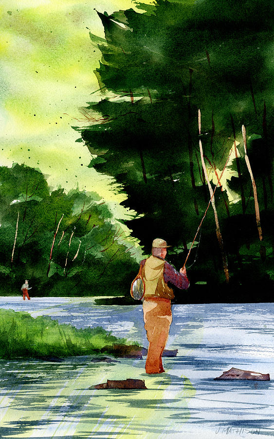 Penns Creek Painting - Fishin The Hatch by Jeff Mathison