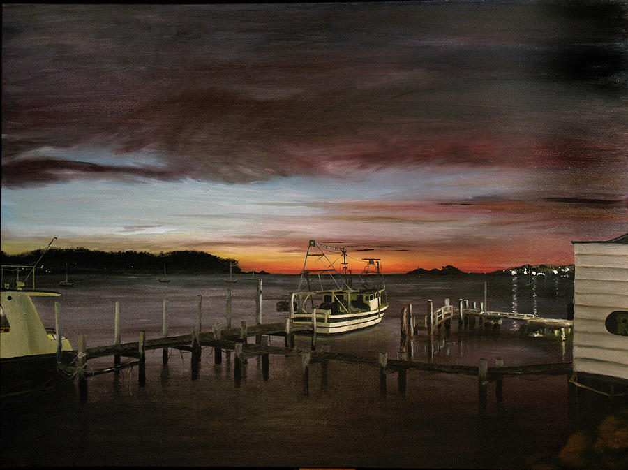 Fishing Bay At Sunrise Painting  - Fishing Bay At Sunrise Fine Art Print