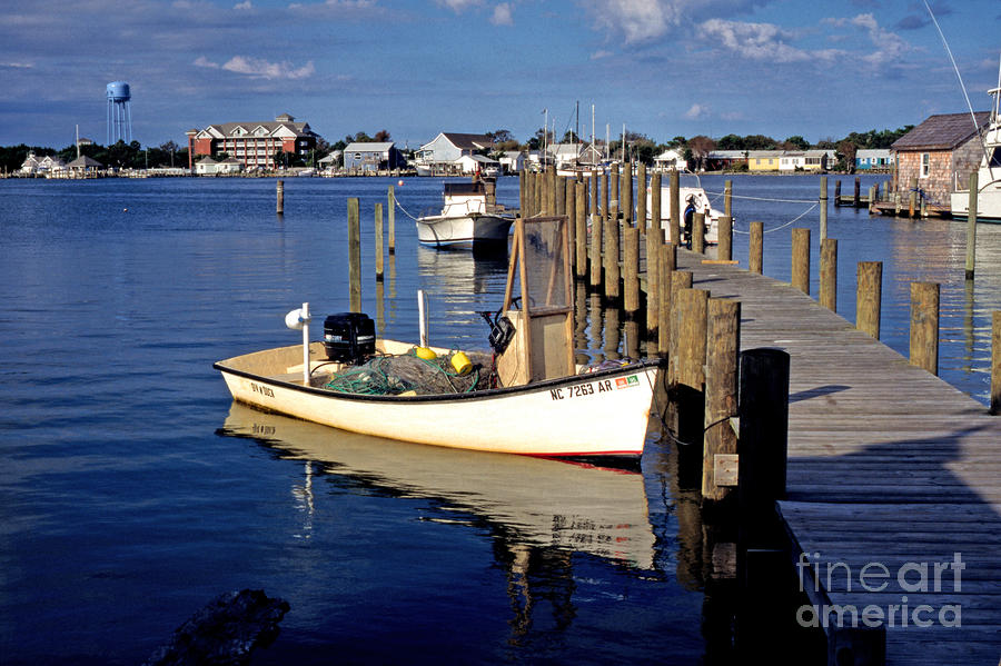 Fishing Boats At Dock Ocracoke Village Photograph  - Fishing Boats At Dock Ocracoke Village Fine Art Print