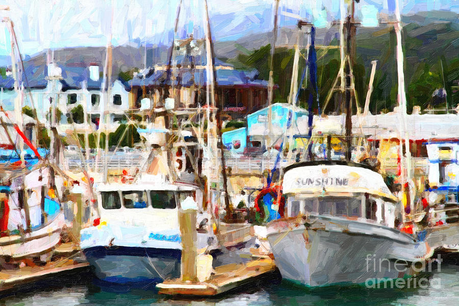 Fishing Boats At The Dock . 7d8213 Photograph  - Fishing Boats At The Dock . 7d8213 Fine Art Print