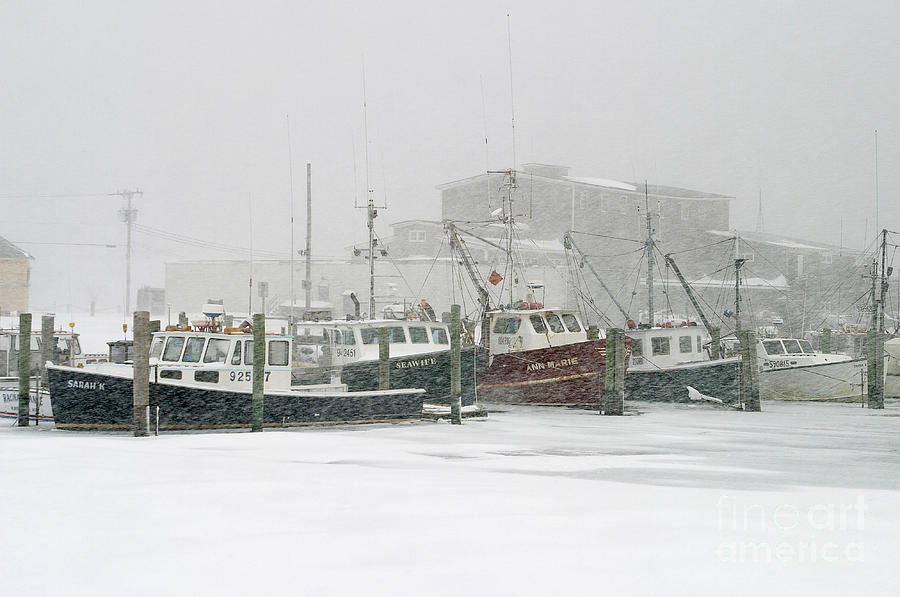 Fishing Boats During Winter Storm Sandwich Cape Cod Photograph