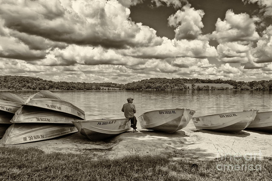 Fishing By The Boats 2 Photograph