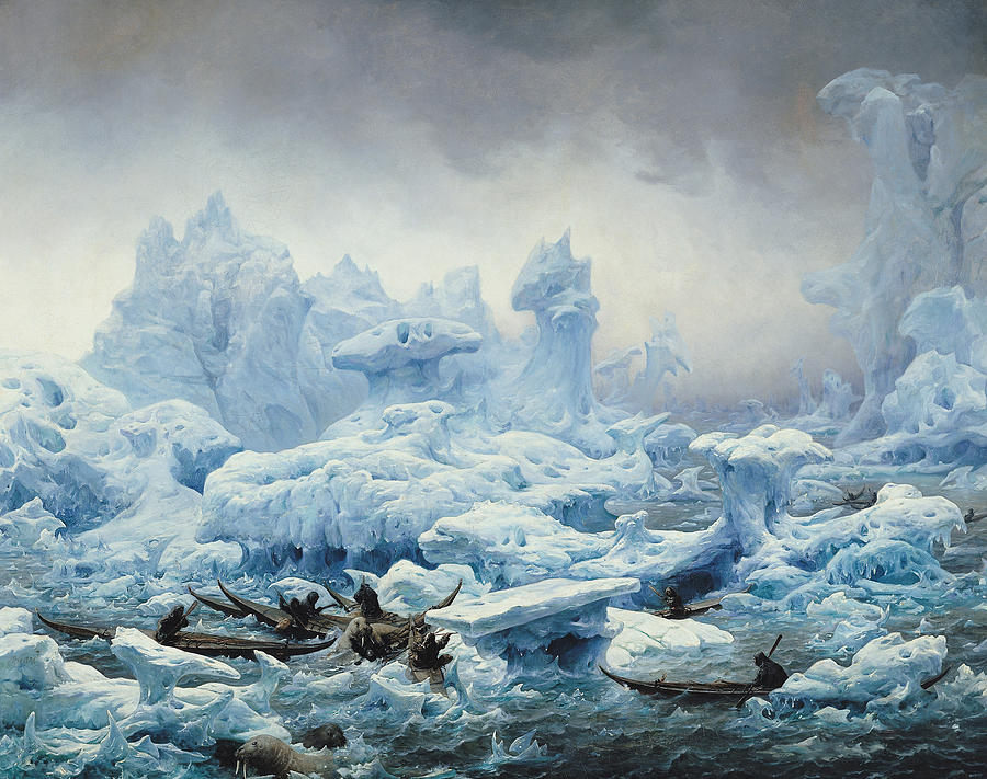 Fishing For Walrus In The Arctic Ocean Painting