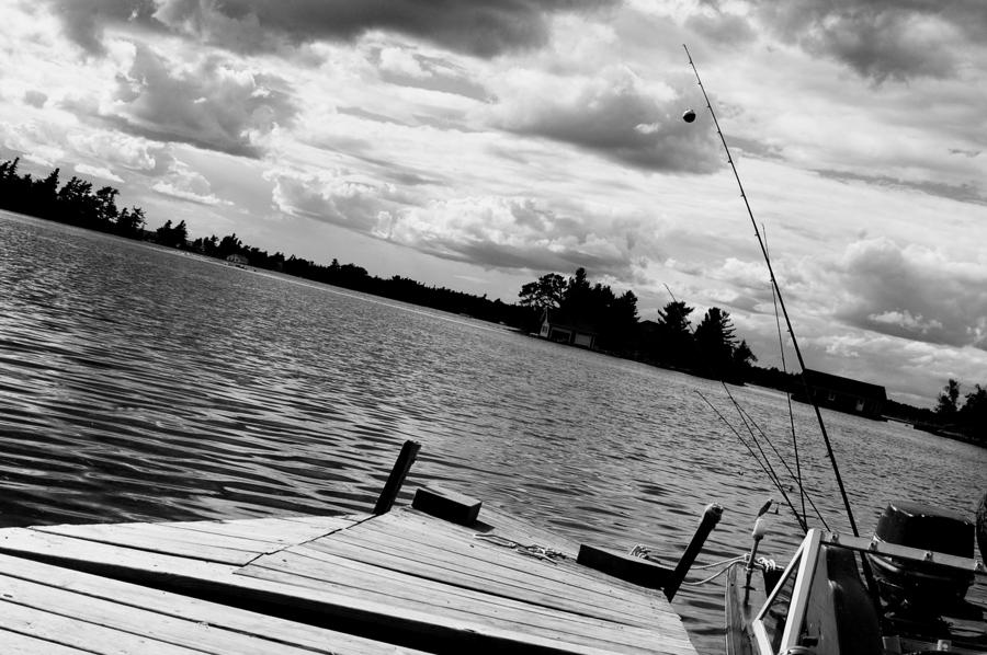 Fishing In Black And White Photograph