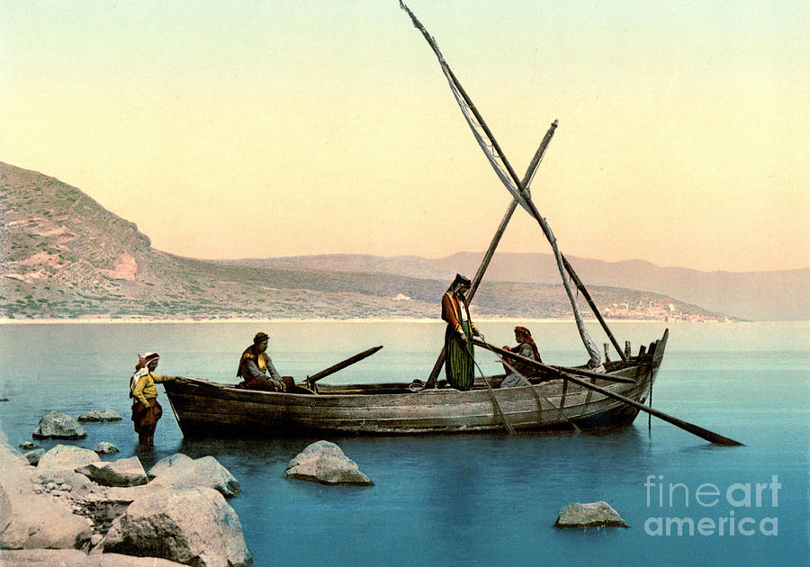 Fishing Lake Tiberias 1895 Photograph  - Fishing Lake Tiberias 1895 Fine Art Print