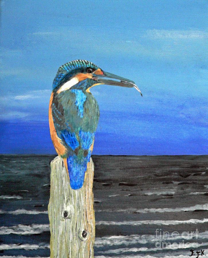 Fishing Post Kingfisher Of Eftalou. Painting