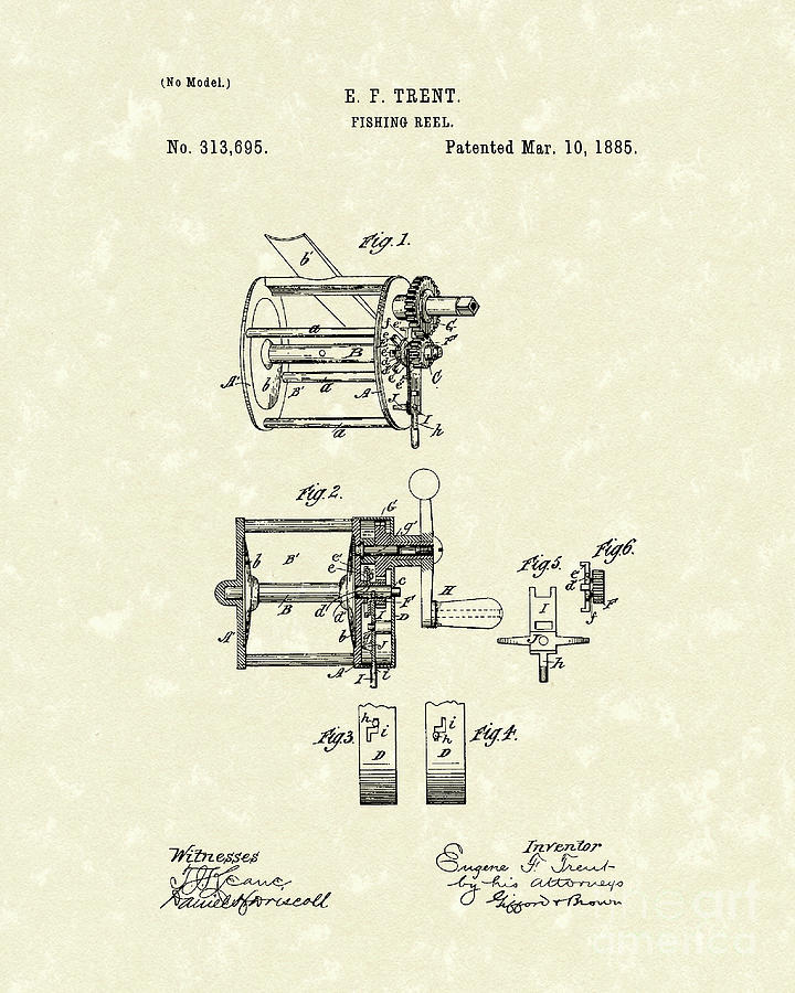 Fishing Reel 1885 Patent Art Drawing  - Fishing Reel 1885 Patent Art Fine Art Print