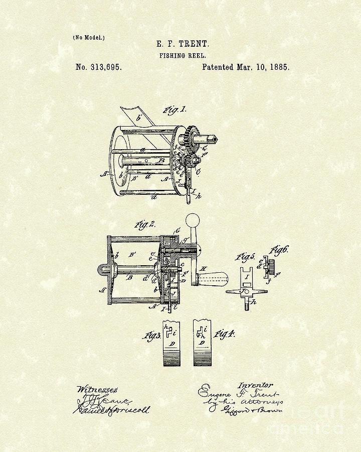 Fishing Reel 1885 Patent Art Drawing