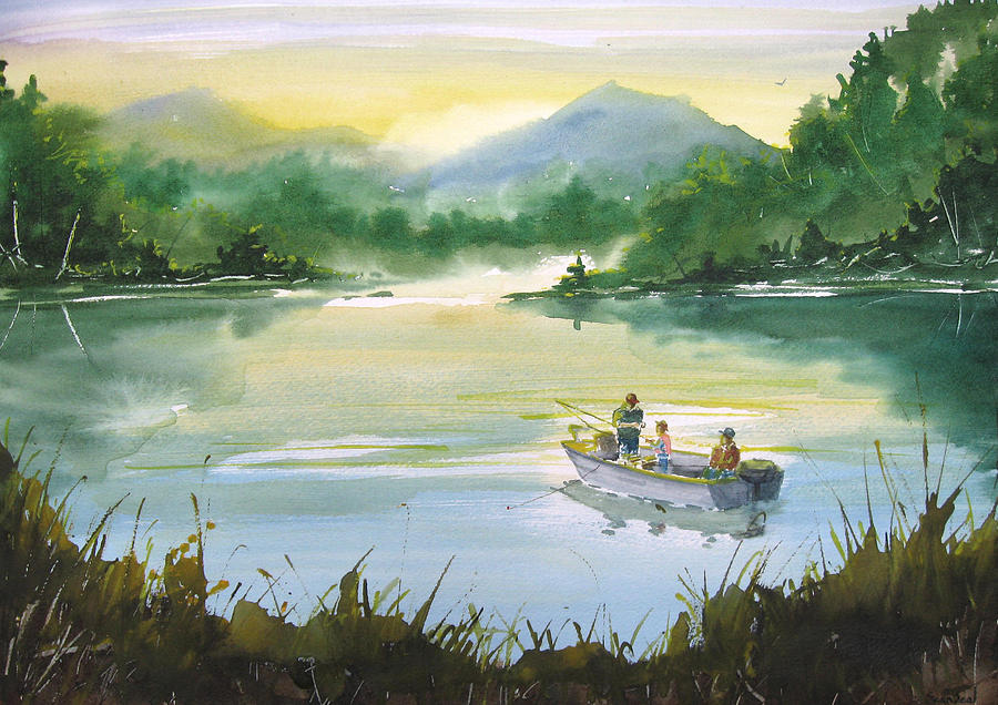 Fishing With Grandpa Painting  - Fishing With Grandpa Fine Art Print