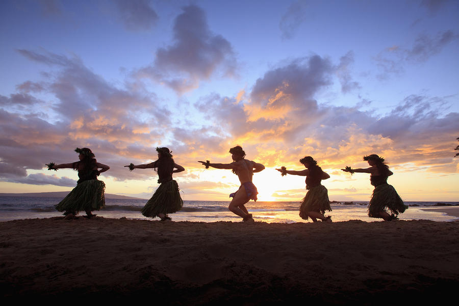 Five Hula Dancers At Sunset At The Beach At Palauea Photograph  - Five Hula Dancers At Sunset At The Beach At Palauea Fine Art Print