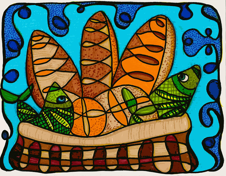 Five Loaves Two Fish Original Drawing  - Five Loaves Two Fish Original Fine Art Print