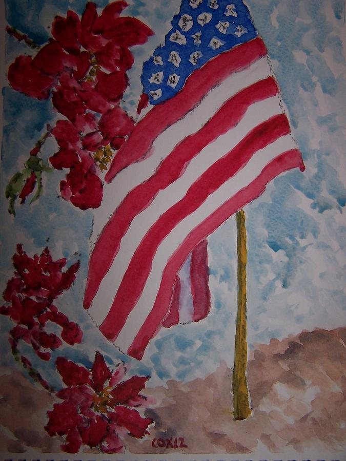 Flag And Roses Painting  - Flag And Roses Fine Art Print