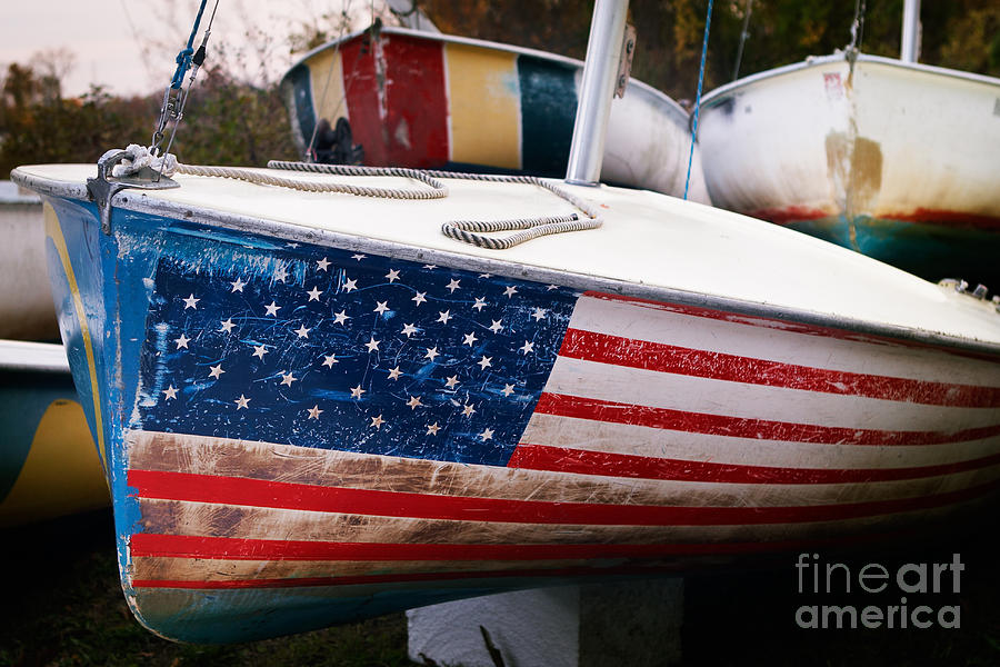 Flag Boat Photograph  - Flag Boat Fine Art Print