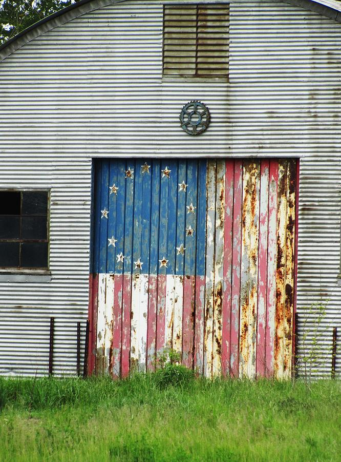 Rustic Buildings With Flag Photograph - Flag Day 1951 by Todd Sherlock