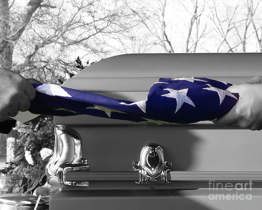 Flag For The Fallen - Selective Color Photograph