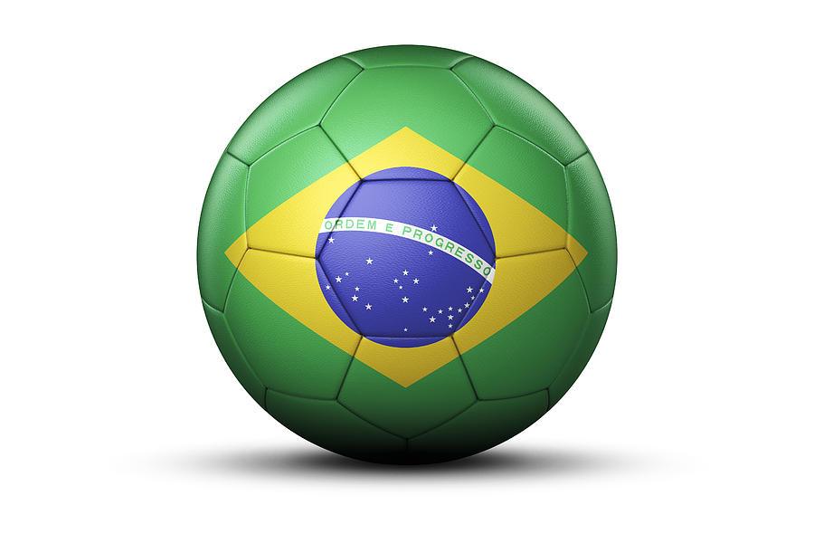 Flag Of Brazil On Soccer Ball by Bjorn Holland Rolling Soccer Ball
