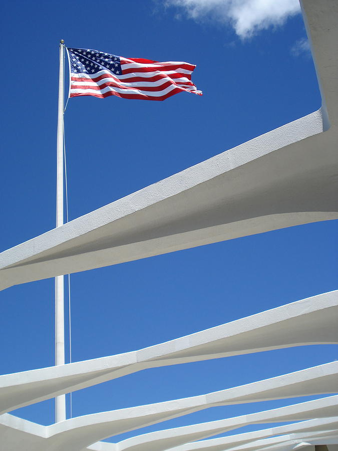 Flag Over Pearl Harbor Photograph  - Flag Over Pearl Harbor Fine Art Print