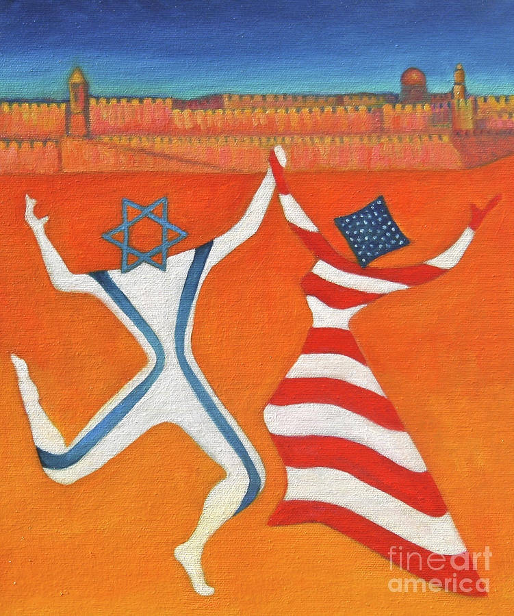 Flags Dancing With Israeli Man And American Woman       Painting