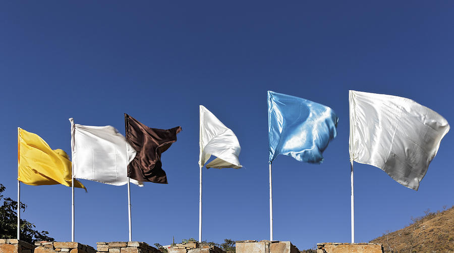 Flags Fluttering Against Blue Sky Photograph  - Flags Fluttering Against Blue Sky Fine Art Print