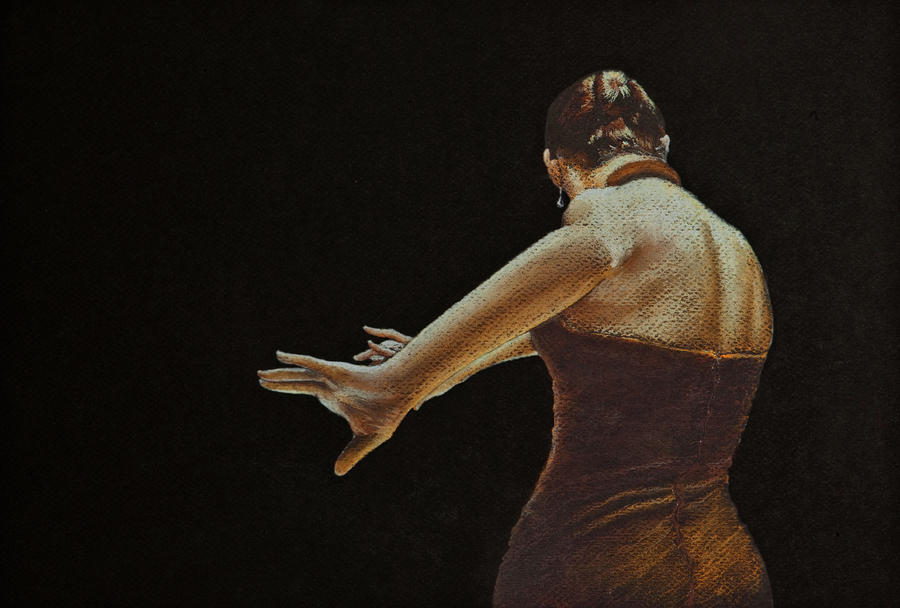 Flamenco Dancer In Brown Dress Drawing