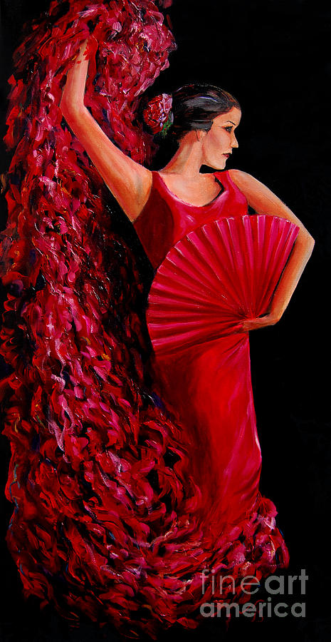 Flamenco Dancer In Red Painting  - Flamenco Dancer In Red Fine Art Print