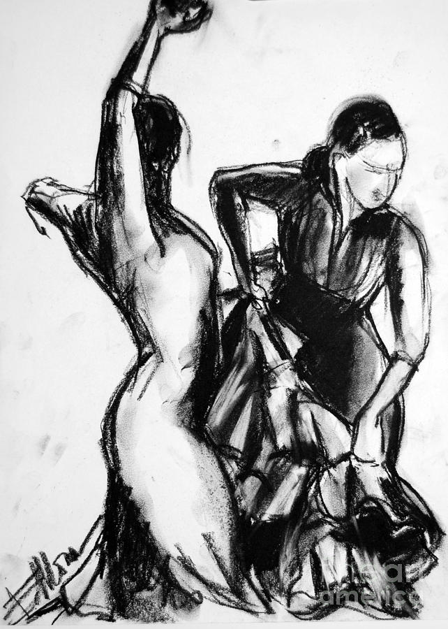 Flamenco Sketch 1 Drawing  - Flamenco Sketch 1 Fine Art Print