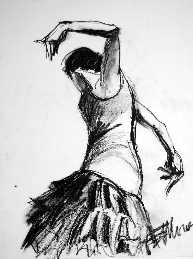 Flamenco Sketch 2 Drawing  - Flamenco Sketch 2 Fine Art Print