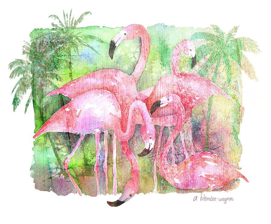 Flamingo Five Painting
