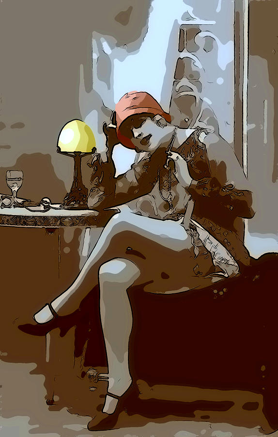 Flapper Girl 2 Digital Art  - Flapper Girl 2 Fine Art Print