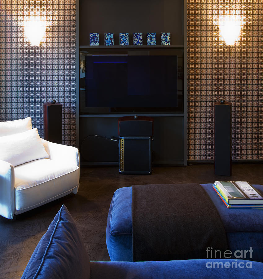 Flat screen tv on living room wall photograph by andersen ross - Best size flat screen tv for living room ...