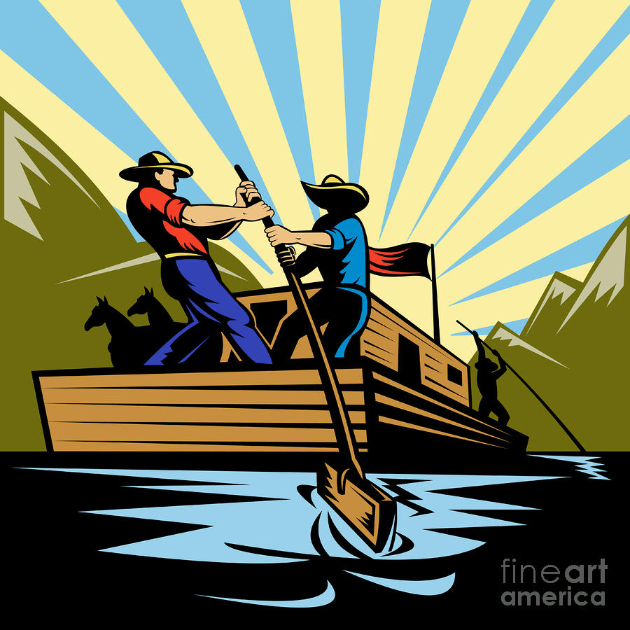 Flatboat Along River Digital Art