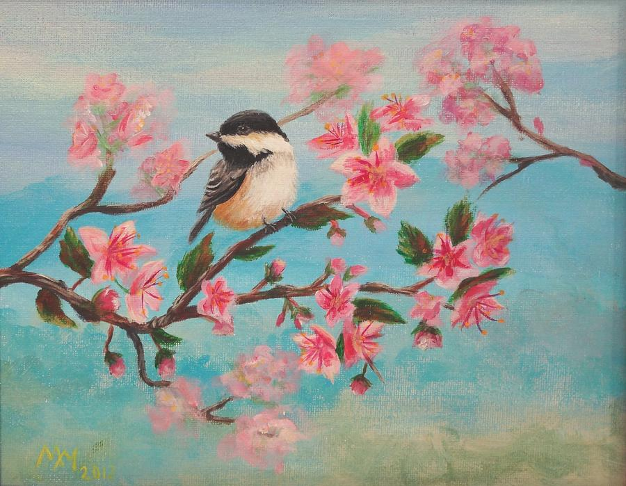 Chickadee Painting - Flathead Spring Blossoms by Misty Mueller