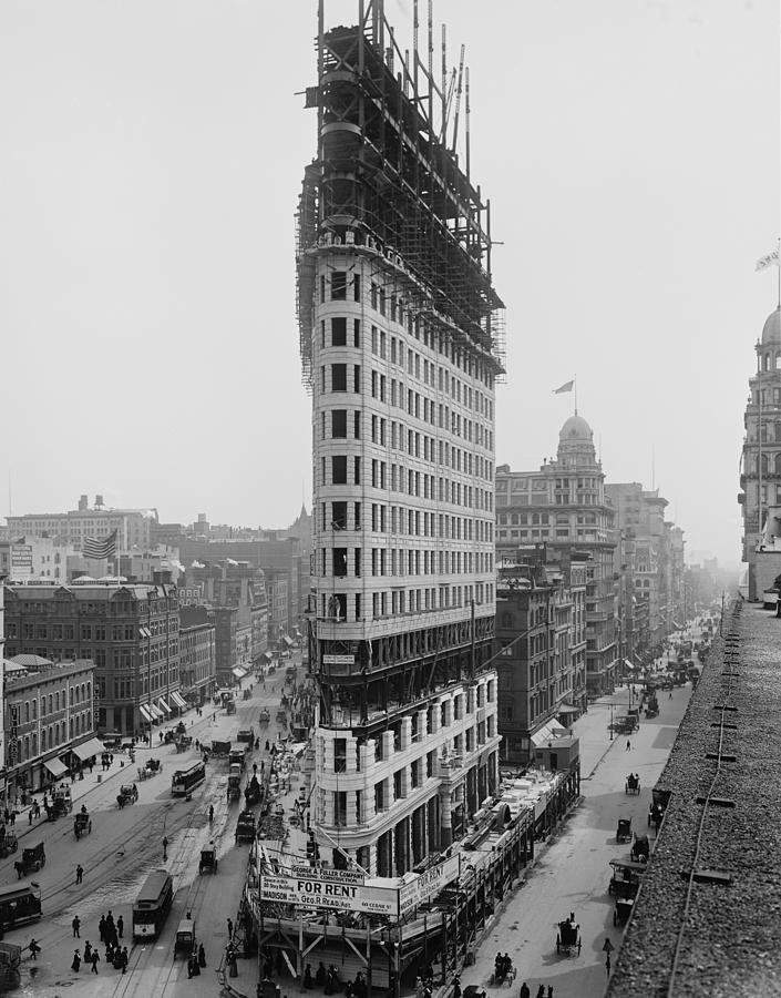 Flatiron Building During Construction Photograph