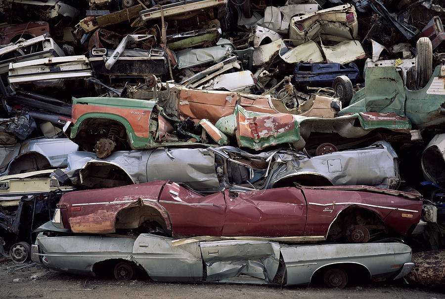 Flattened Car Bodies Photograph