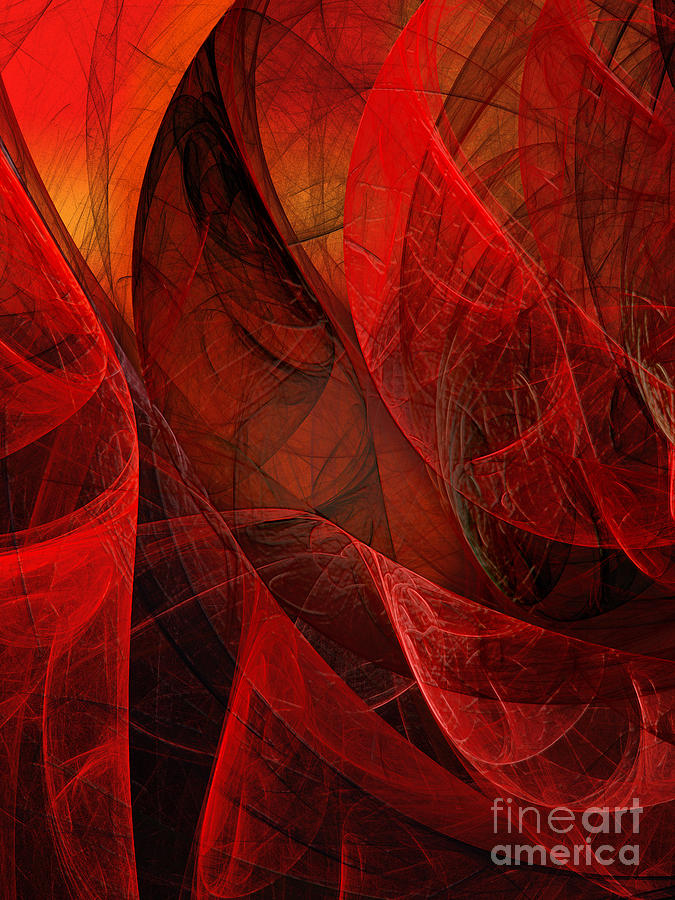 Flickering Flaming Fractal 2 Digital Art  - Flickering Flaming Fractal 2 Fine Art Print