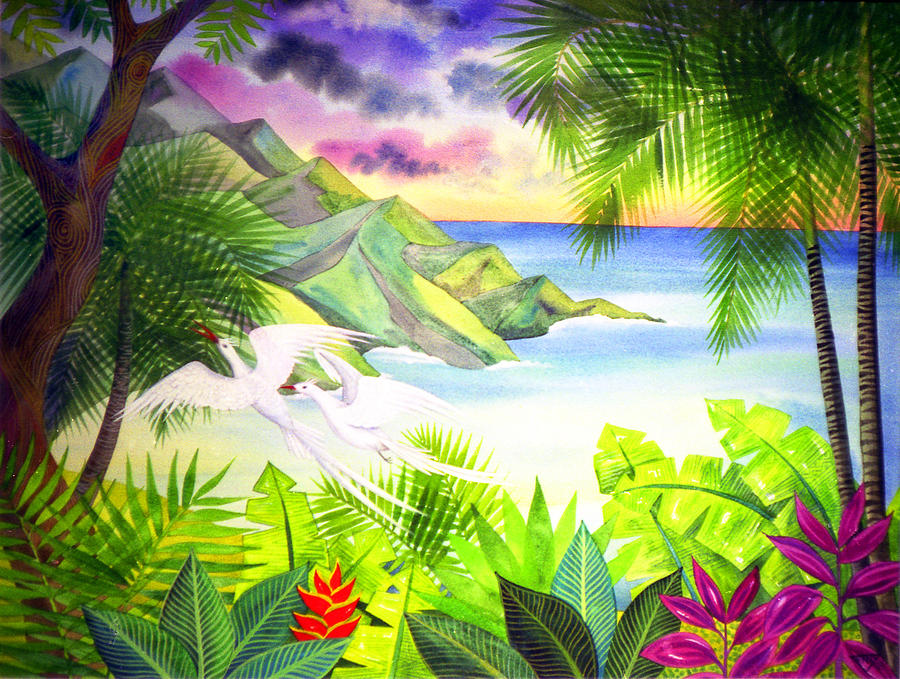 Flight Of The Red Billed Tropic Birds Painting