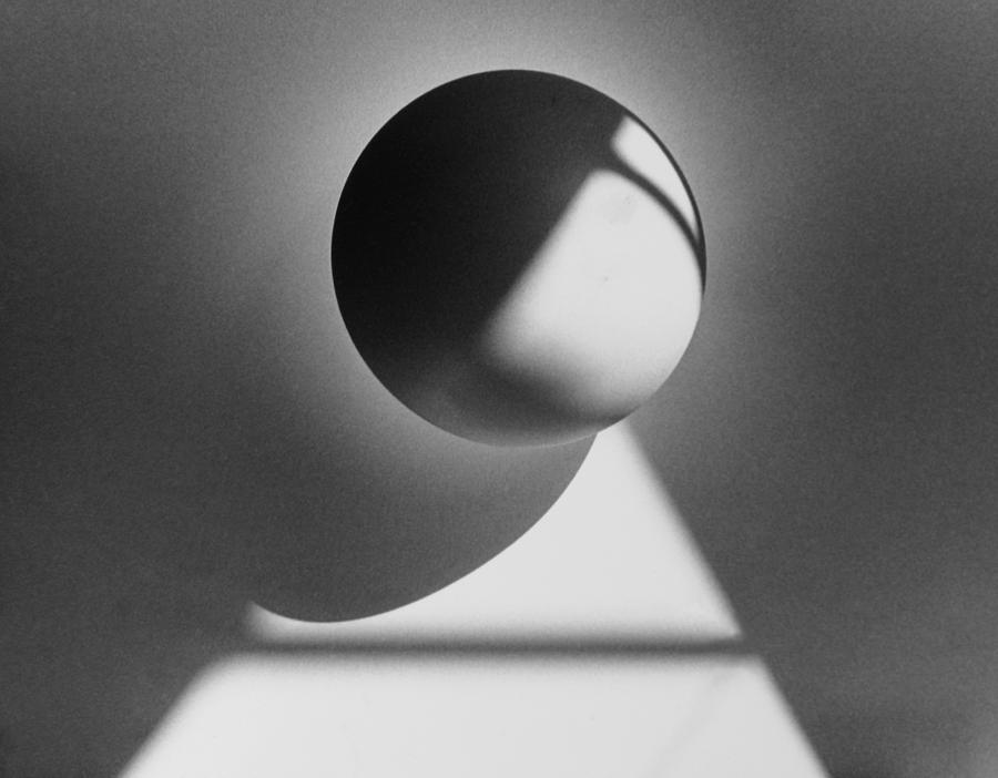 Floating Sphere On Light Triangle- Black And White Silver Gelati Photograph  - Floating Sphere On Light Triangle- Black And White Silver Gelati Fine Art Print