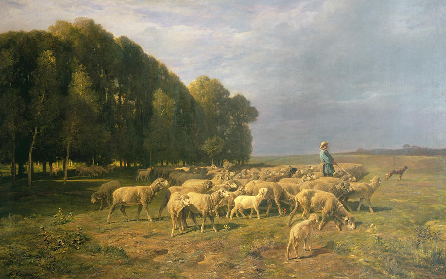 Flock Of Sheep In A Landscape Painting  - Flock Of Sheep In A Landscape Fine Art Print