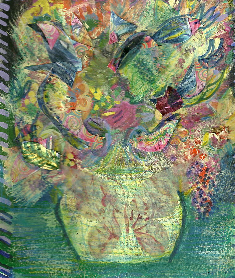 Floral Bouquet Green Painting  - Floral Bouquet Green Fine Art Print