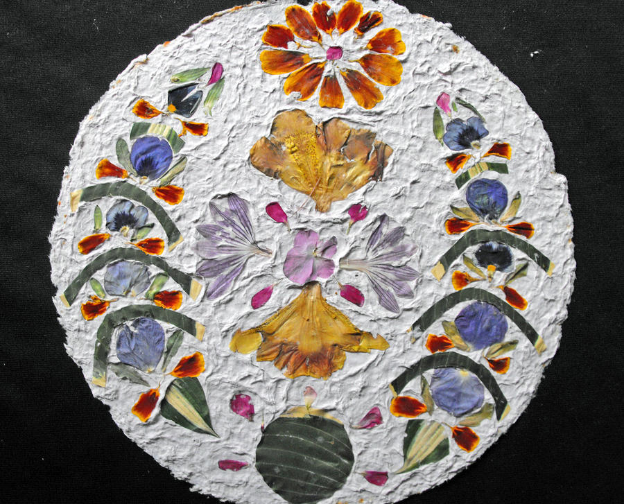 Floral Collage Mixed Media - Floral Collage On Handmade Paper No. 2031 by Mircea Veleanu
