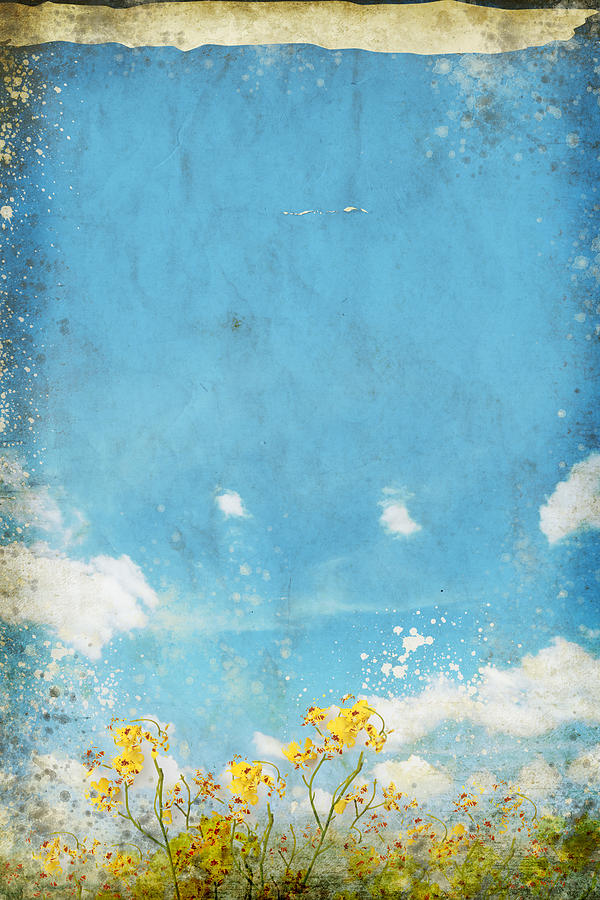 Floral In Blue Sky And Cloud Painting  - Floral In Blue Sky And Cloud Fine Art Print