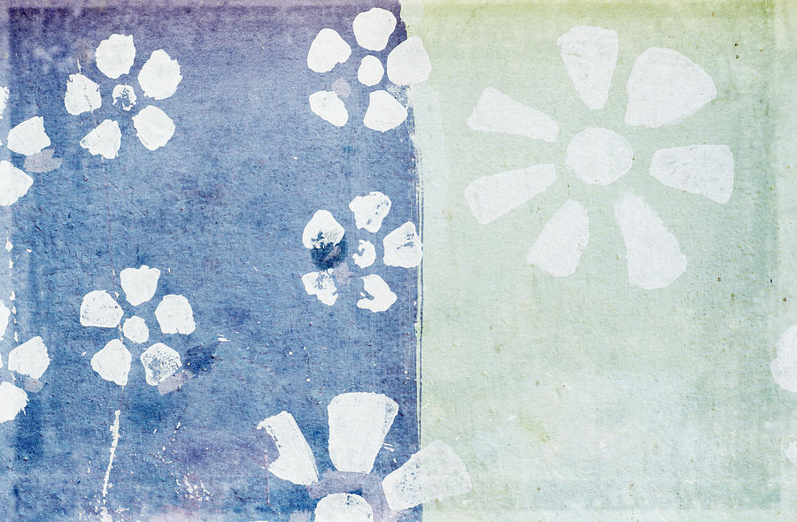 Floral Pattern On Old Grunge Paper Painting