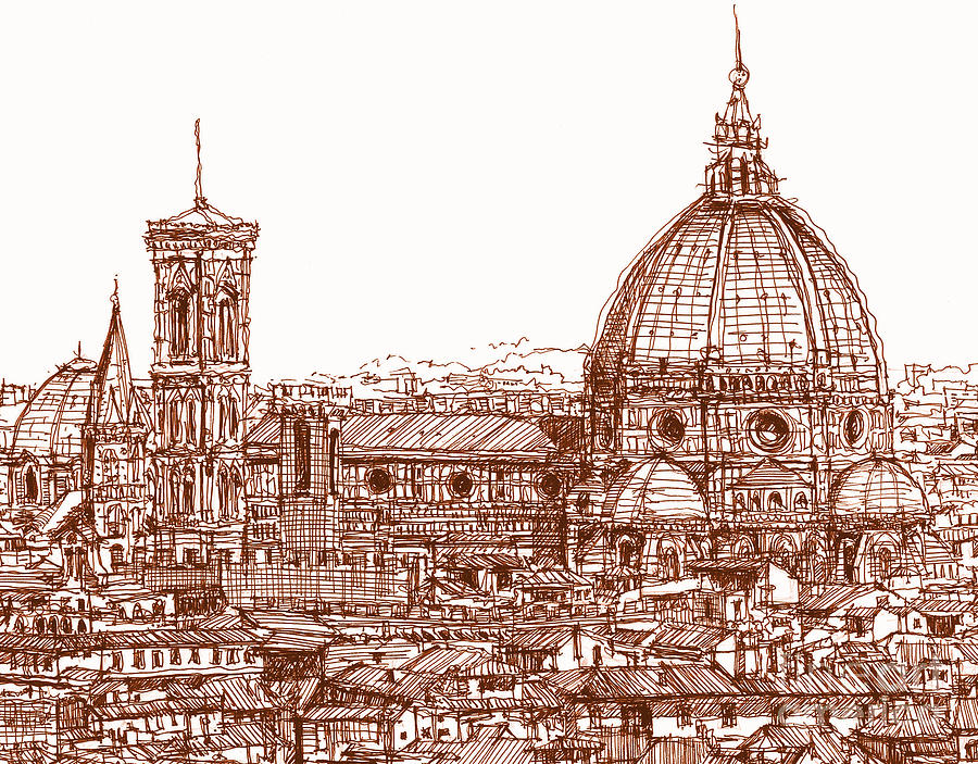 Florence Duomo In Red Drawing  - Florence Duomo In Red Fine Art Print