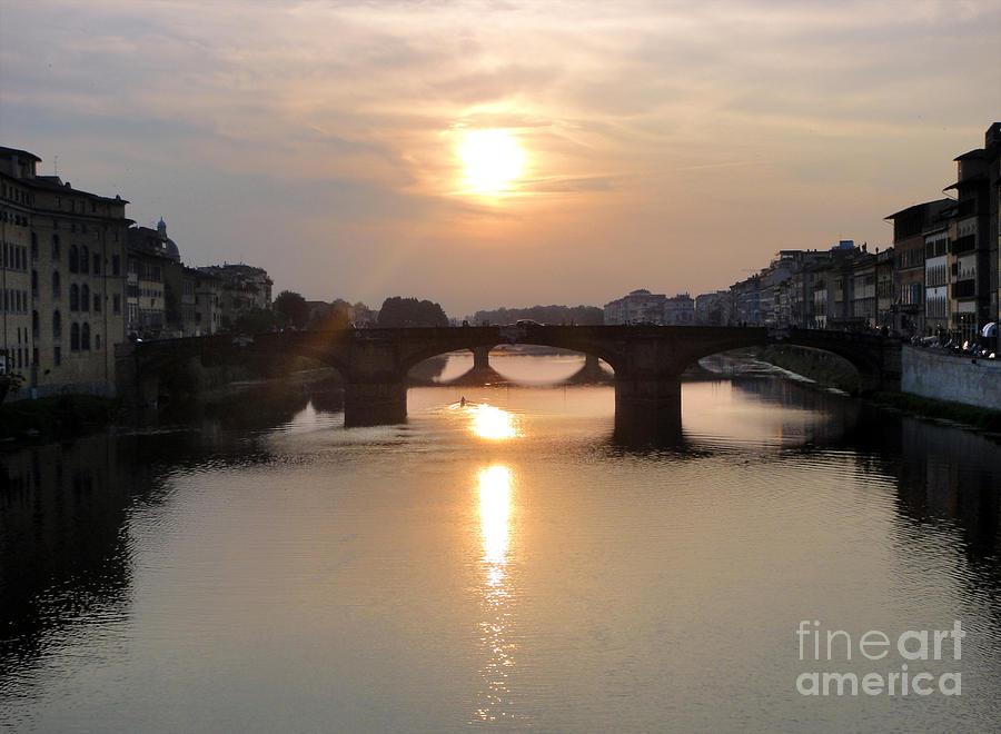 Florence Italy - Beautiful Arno Sunset Painting