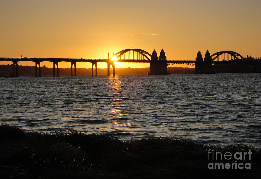 Florence Oregon - Art Deco Bridge At Sunset Photograph  - Florence Oregon - Art Deco Bridge At Sunset Fine Art Print