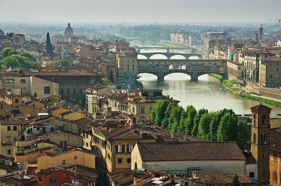 Florence. View Of Ponte Vecchio Over River Arno. Photograph