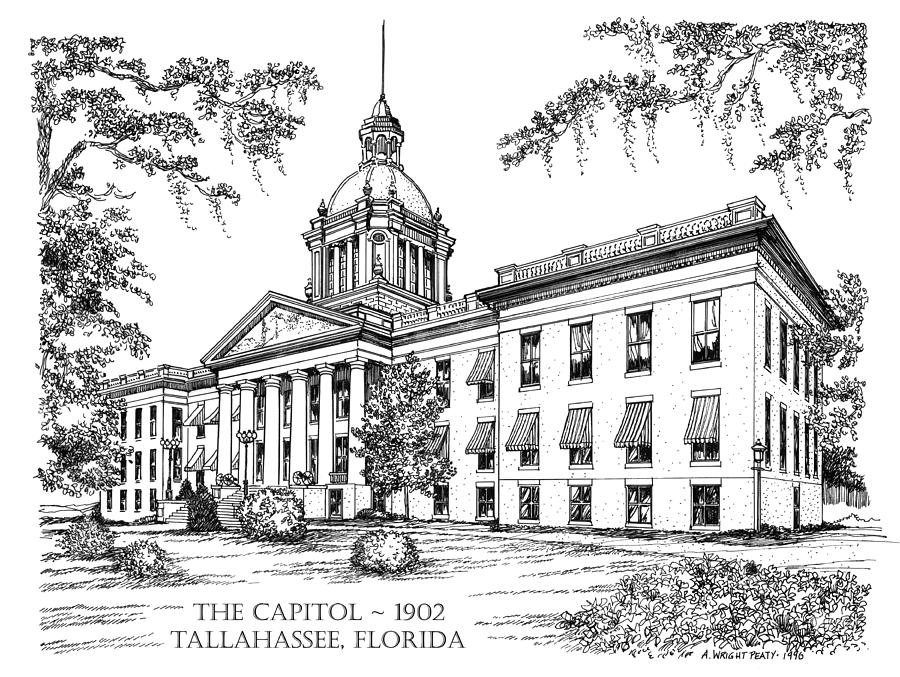 Florida Capitol 1902 Ink Drawing