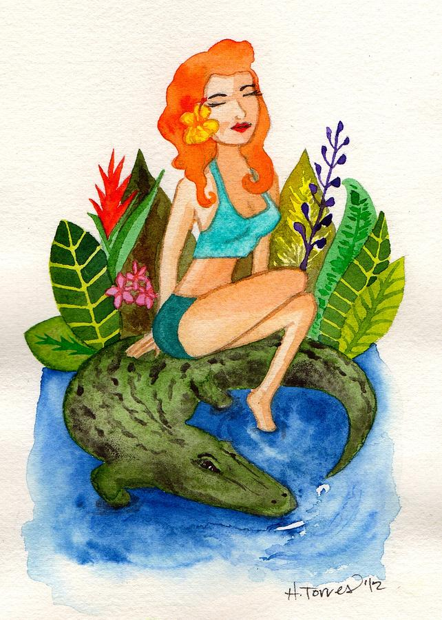 Florida Girl And Her Gator Painting  - Florida Girl And Her Gator Fine Art Print