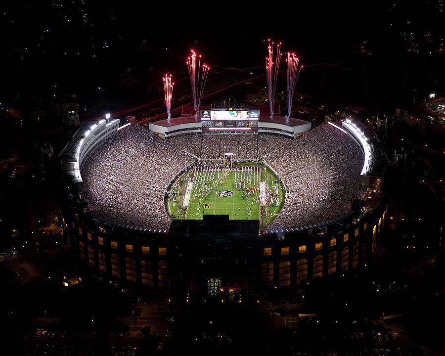 Florida State Fireworks Over Doak Campbell Stadium Aerial View Photograph  - Florida State Fireworks Over Doak Campbell Stadium Aerial View Fine Art Print